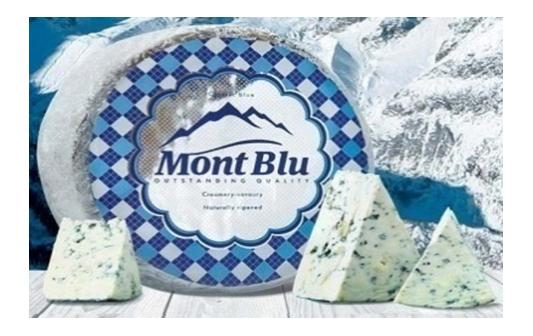"""Сыр """"Монт Блю"""" с голубой благородной плесенью круг 2,4 кг."""